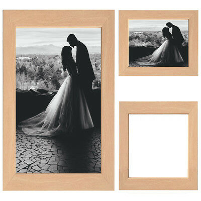 Beech Picture Frame Wood Photo Case Wall Hanging Image Mount Photograph Stand UK