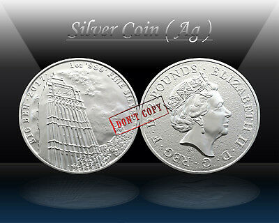 UK / BRITTANIA 2 POUNDS 2017 ( BIG BEN - LONDON ) SILVER 1oz coin (Ag .999) UNC