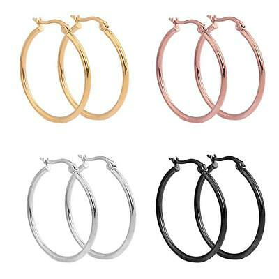 Womens Mens Earrings Silver Gold Plated Round Surgical Stainless Steel 4 Pairs