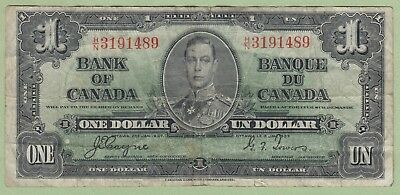 1937 Bank of Canada One Dollar Note - Coyne/Towers - H/N3191489 - Fine