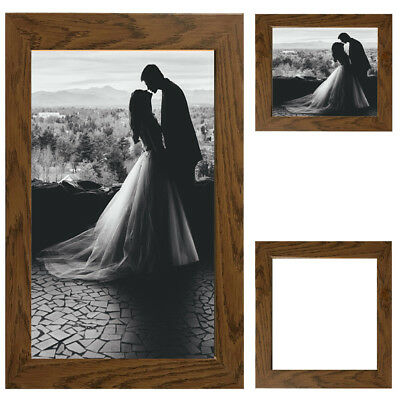 Dark Oak Picture Frame Wood Photo Case Wall Hanging Image Mount Photograph Stand