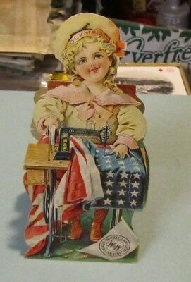 Antique Wheeler & Wilson Sewing Machines Patriotic Stand-up Victorian Trade Card