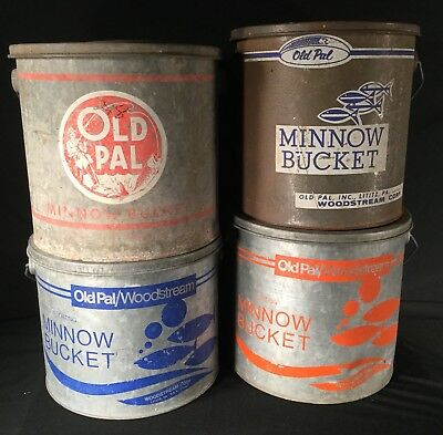 Vtg Old Pal Woodstream Lot 4 Galvanized Metal Bait Minnow Bucket Pail Original