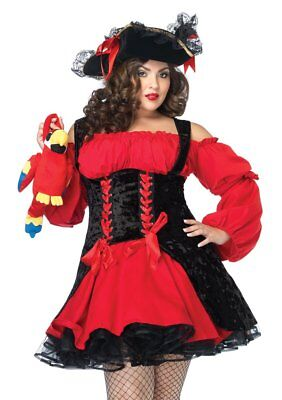 Clearance Leg Avenue Plus Size womens red pirate dress costume 83157X 3X/4X