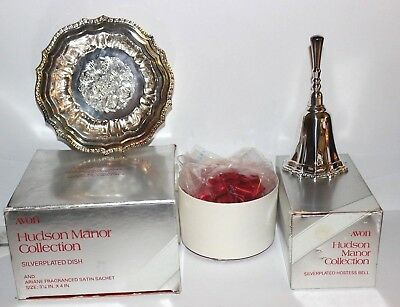 vintage AVON collectible HUDSON MANOR collection SILVERPLATED DINNER BELL & DISH