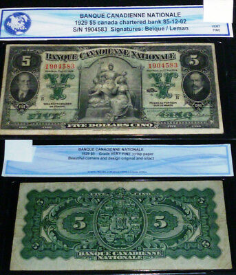 1929 Banque Canadienne Nationale  Five Dollars  ($5),large Banknote