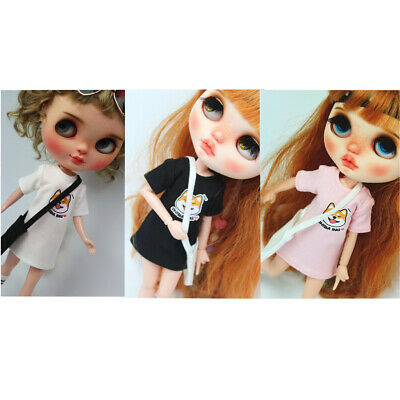 Black/Pink/White Doll Casual Top Clothes for 12'' Blythe Girl Dolls Accs