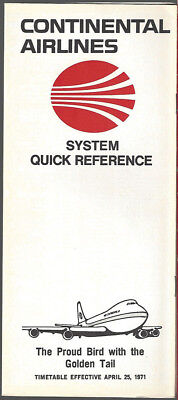 Continental Airlines system timetable 4/25/71 [8102]