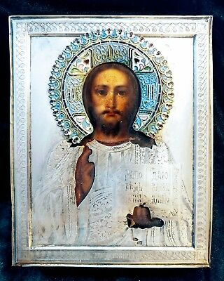 IKONWORLD:ANTIQUE 19c HAND PAINTED ENAMEL 84 SILVER RUSSIAN ICON THE CHRIST KIOT