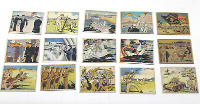 15 pc 1941 Gum Inc Uncle Sam USA Military No Two Alike WWII War Picture Card Lot