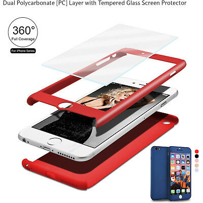 360°Full Coque +FILM PROTECTION VITRE VERRE TREMPE Etui Pr iPhone6 5 6s 7 8 Plus