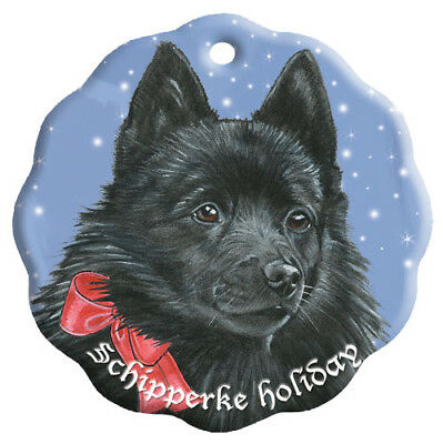 Schipperke Holiday Porcelain Christmas Tree Ornament