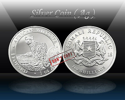SOMALIA 100 SHILLINGS 2018 ( AFRICAN WILDLIFE - LEOPARD ) SILVER 1oz coin * UNC