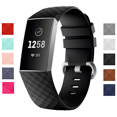 BOGO FitBit Charge 3, Charge 4 Soft Silicone Replacement Strap Band 10 Colors