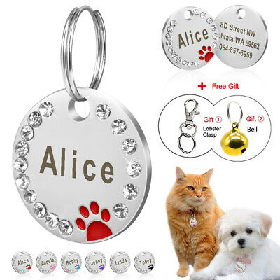 Personalised Engraved Dog Tags Glitter Paw Print Round Tag Dog Cat Pet ID Tags