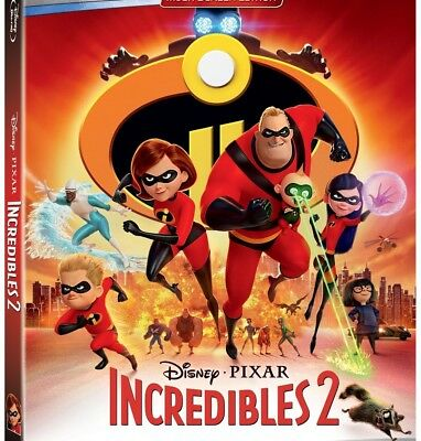 INCREDIBLES 2 Blu-ray/DVD (CASE, SLIP COVER, & ALL DISC)
