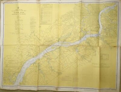 VINTAGE NAUTICAL CHART MAP DE PA NJ DELAWARE RIVER Wilmington to Philadelphia