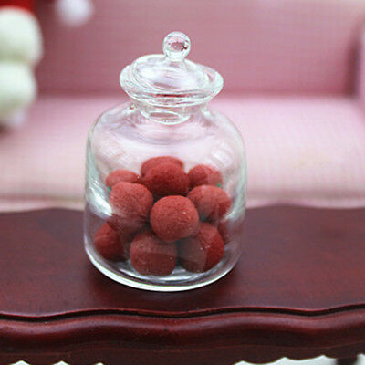 1:12 Miniature Display Glass Bottles with Lid Dollhouse Kitchen Accessories