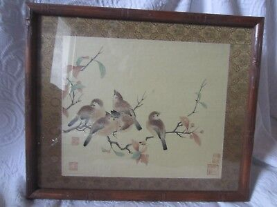 Vintage Wood Block of Birds in a Bamboo Frame,  Japan,  Very Good Condition