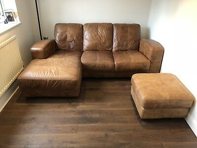 Peachy Dfs Caeser Leather Corner Sofa 3 Seater Brown With Matching Machost Co Dining Chair Design Ideas Machostcouk