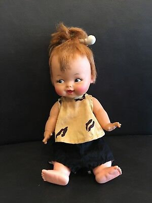 Vintage 1964 IDEAL Flinstones Pebbles Doll with original clothes and hairbone