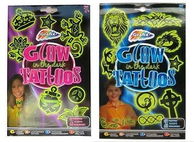 Grafix Glow In The Dark Tattoos Boys & Girls Gift Temporary Tattoo Designs Party