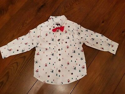 Boys Xmas Shirt with Dicky Bow 18-24 Months