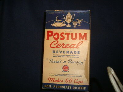 Vintage Postum Cereal Beverage In The Box Unopened  1Lb 2 Oz Rare Not A Tin