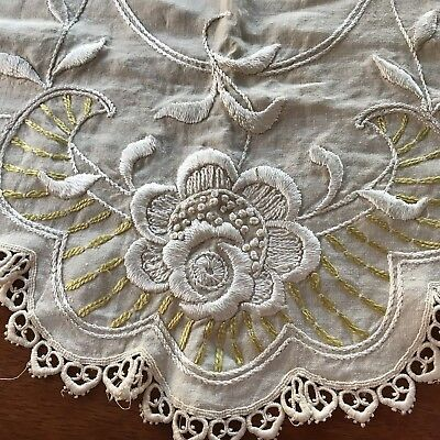 Antique~Society SILK  Work Hand Embroidered ~Linen TABLE SCARF ART NOUVEAU ~GOLD