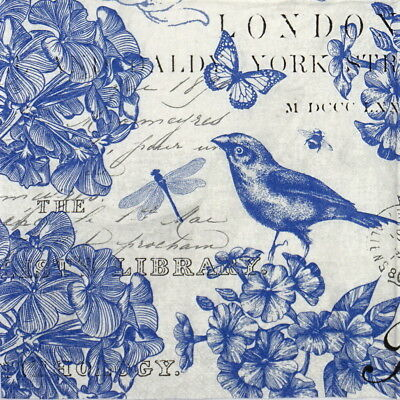 4x Paper Napkins for Party, Decoupage Craft Indigo Cotton Blue Birds