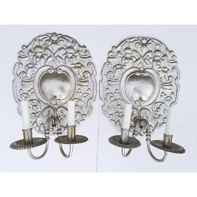 Antique French Baroque Louis XV Style Aluminum Silver Putty Large Sconces -Pair
