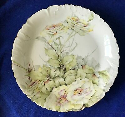 """Large, 12.7"""" Antique Limoges Hand Painted French Wild Roses Plater 1891-1895"""