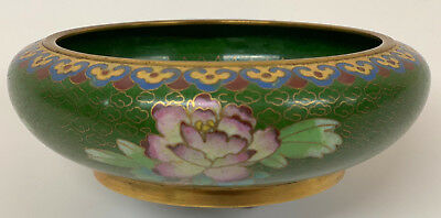 Cloisonne Antique Bowl Chinese 19th Century Green 13cm diameter
