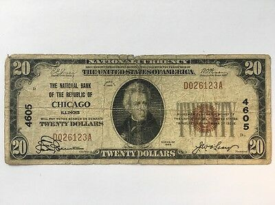 1929 Twenty Dollar Bill $20 National Currency Brown Seal Note - Chicago, IL