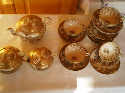 Fine Old Japanese Satsuma Porcelain Meiji Signed 15 Pieces Tea Set GORGEOUS RARE