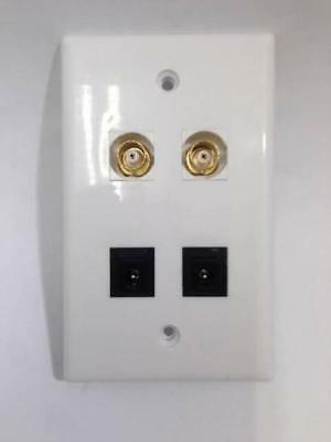 CERTICABLE CUSTOM WHITE WALL PLATE CCTV CAMERA 2- 2.1mm POWER + 2- BNC VIDEO
