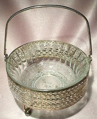 Vintage ~ Glass & Silver Tone Dish Bowl Ball Footed ~ Estate Collectable