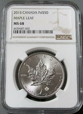 2015 Palladium Canada $50 Maple Leaf Coin Ngc Mint State 68