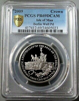2009 Palladium Isle Of Man 1000 Minted Berlin Wall 1Oz Pcgs Proof 69 Dcam