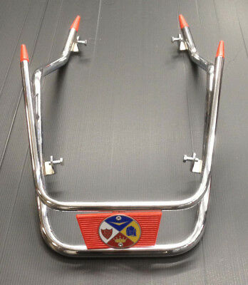Front mud guard bumper bar chrome with red badge for Vespa PX by Cuppini