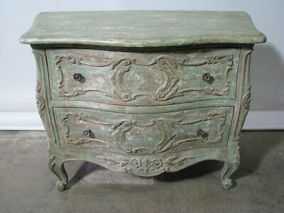 Minton Spidell Louis XV Distressed French Provincial Style 2 Drawer Stand; Mint