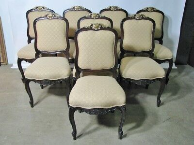 Stunning Set of 8 Hand Carved French Style Dining Chairs By Interior Crafts