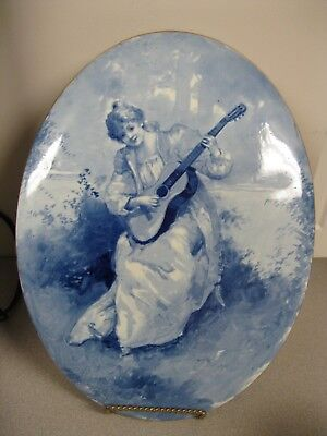 Large Antique Oval Porcelain HP Maiden Playing Guitar Wall Plaque European