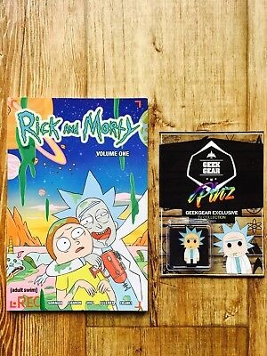 BNWT RICK AND MORTY book comic VOLUME ONE GRAPHIC NOVEL GEEK GEAR ENAMEL PIN