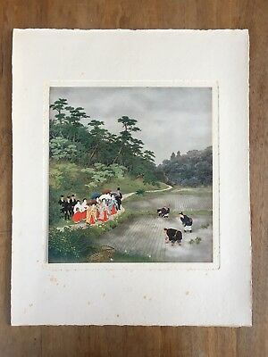 "c.1940s ""THE EMPRESS VIEWING RICE-PLANTING"" KONDÔ SHÔSEN PAINTING PRINT MEIJI"