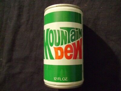 Vintage Mountain Dew Straight Steel Pull Tab Top Opened Soda Can