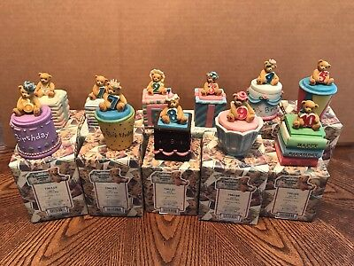 Enesco Cherished Teddies Birthday Baby Thru Age 10 Covered Boxes Lot of 11
