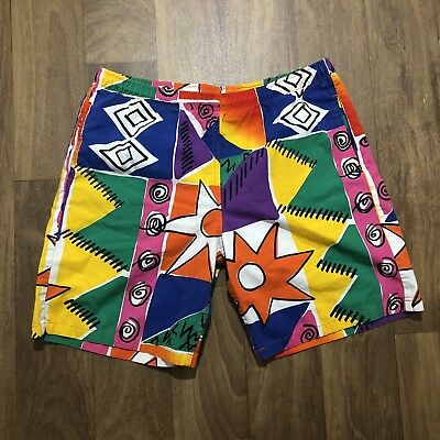 Jams Vintage Shorts Original Surfline Green Pink Yellow Blue Red  Sz Med