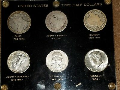 U.S.Type Half Dollar Set* Bust,Seated,Barber,Walking Liberty,Franklin,Kennedy