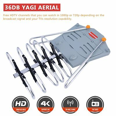 HDTV 1080P Outdoor Amplified Digital Antenna 360 Rotor HD TV UHF VHF FM 150 Mile